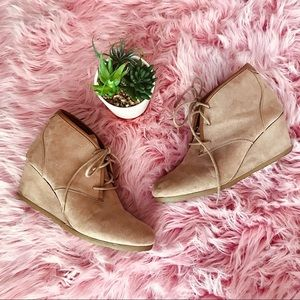 Mad Love Taupe Faux Suede Wedge Booties Myrtle